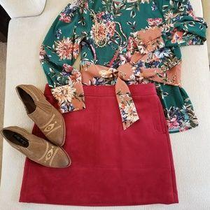 Loft Cranberry Ultra Suede Skirt 14